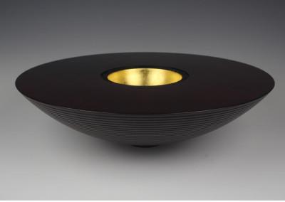 black wooden bowl