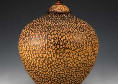wooden sculpture, hollow form, wood art, wood vessel, poplar, maple, Ebonized West Indies Mahogany